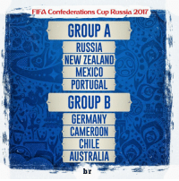 Memes, Euro, and Copa America: FIFa Confederations Cup Russia 2017  GROUP A  RUSSIA  NEW ZEALAND  MEXICO  PORTUGAL  GROUP B  GERMANY  CAMEROON  CHILE  AUSTRALIA  br Pembagian Grup Piala Konfederasi 2017! Grup A 1. Rusia (Tuan rumah) 2. Selandia Baru (Juara OFC nations Cup) 3. Meksiko (Juara CONCACAF Cup) 4. Portugal (Juara Euro) Grup B 1. Jerman (Juara Piala Dunia) 2. Kamerun (Juara Piala Afrika) 3. Chile (Juara Copa America) 4. Australia (Juara Piala Asia) Kompetisi ini akan dilaksanakan di Russia pada 7 Juni - 2 Juli 2017 ✌