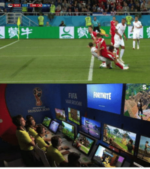 Fifa, Omg, and Tumblr: FIFA FORTNITE  UARROOM  RUSSIA2018 omg-humor:  VAR in action during Serbia- Switzerland