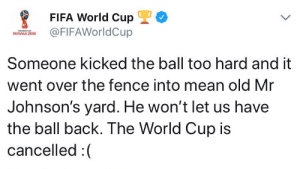 me⚽irl: FIFA World CupL  FIFAWorldCup  Someone kicked the ball too hard and it  went over the fence into mean old Mr  Johnson's yard. He won't let us have  the ball back. The World Cup is  cancelled :( me⚽irl