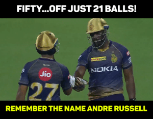 Memes, 🤖, and Nokia: FIFTY...OFF JUST 21 BALLS!  ms  kkr.in  NOKIA  Jio  27  REMEMBER THE NAME ANDRE RUSSELL This man can't be from this planet :O