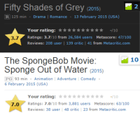 "Anaconda, Fifty Shades of Grey, and SpongeBob: Fifty Shades of Grey (2015)  R 125 min - Drama | Romance 13 February 2015 (USA)  2  Your rating:★★★★★★★★★★ -/10  Ratings: 3.7/10 from 26,584 users Metascore: 47/100  Reviews: 208 user 139 critic | 41 from Metacritic.com  3.7   The SpongeBob Movie:  Sponge Out of Water (2015)  10  PG 93 min Animation Adventure Comedy  6 February 2015 (USA)  Your rating:t-/10  7.0  Ratings: 7.0/10 from 3,881 users Metascore: 63/100  Reviews: 38 user 48 critic 23 from Metacritic.com <p><a class=""tumblr_blog"" href=""http://charmsandspells.tumblr.com/post/110993494742/and-i-think-to-myself-what-a-wonderful-world"">charmsandspells</a>:</p><blockquote><p>And I think to myself</p><p>What a wonderful world</p></blockquote>"