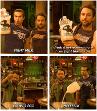 Memes, Fight, and 🤖: FIGHT MILK  CROW'S EGG  I drink it every morning so  I can fight like a crow  MEEEEELK