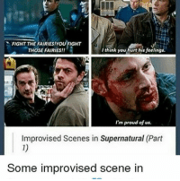Memes, Supernatural, and Proud: FIGHT THE FAIRIES!YOU FIGHT  I think you hurt his feeling  THOSE FAIRIES!!  I'm proud of us.  Improvised Scenes in Supernatural (Part  Some improvised scene in morning 🦄