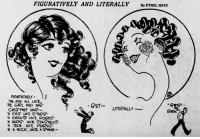 Beautiful, Target, and Tumblr: FIGURATIVELY AND LITERALLY ByeTHEL HAYS  FIGIRATVELY )  THE MEN ALL LIKE  THE GIRL WHO HAO  CHES THUT HAIR-  N EYES LIKE S TAPS  N CHEEK LIKE ROSES  'N EARS、LIKE SEA HELLS  N TETH IKE PEA IS  BUT  LITERALLY - ixellent: yesterdaysprint:    Reading Times, Pennsylvania, February 11, 1925    Reblog if you think the one on the right is literally as beautiful as the one on the left.