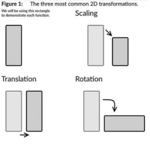 Fuck You, Funny, and Meme: Figure 1:  The three most common 2D transformations.  We will be using this rectangle  to demonstrate each function.  Scaling  Translation  Rotation catgirljohn: what the fuck is this post for. its not even funny or even a meme its literally a middle school math lesson. fuck you and fuck this website