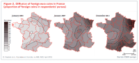 """<p><a href=""""http://land-of-maps.tumblr.com/post/148445037225/diffusion-of-foreign-euro-coins-in-france"""" class=""""tumblr_blog"""">land-of-maps</a>:</p>  <blockquote><p>Diffusion of foreign Euro coins in France [997x449]<br/><a href=""""http://landofmaps.com/"""">CLICK HERE FOR MORE MAPS!</a></p></blockquote>: Figure 2. Diffusion of foreign euro coins in France  proportion of foreign coins in respondents' purses)  January 2003  January 2007  December 2011  Percentage  48  45  42  39  36  30  27  24  21  18  12  6  0  NED  009412  250 km  Sources: ESDO surveys.  0 km  C. Grasland et al., Population and Societies, no.488, INED, April 2012) <p><a href=""""http://land-of-maps.tumblr.com/post/148445037225/diffusion-of-foreign-euro-coins-in-france"""" class=""""tumblr_blog"""">land-of-maps</a>:</p>  <blockquote><p>Diffusion of foreign Euro coins in France [997x449]<br/><a href=""""http://landofmaps.com/"""">CLICK HERE FOR MORE MAPS!</a></p></blockquote>"""