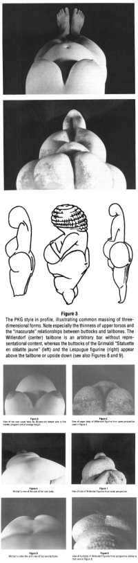 "Bodies , Pregnant, and Relationships: Figure 3  The PKG style in profile, illustrating common massing of three-  dimensional forms. Note especially the thinness of upper torsos and  the ""inaccurate"" relationships between buttocks and tailbones. The  Willendorf (center) tailbone is an arbitrary bar without repre-  sentational content, whereas the buttocks of the Grimaldi ""Statuette  en stéatite jaune"" (left) and the Lespugue figurine (right) appear  above the tailbone or upside down (see also Figures 8 and 9).   Figure 4  Figure 5  View of her own upper body by 26-year-old female who is five View of upper body of Willendorf figurine from same perspective  months pregnant and of average weight.  used in Figure 4   Figure 6  Woman's view of the side of her own body.  Figure 7  View of side of Willendorf figurine from same perspective.   Figure 8  Woman's under-the-arm view of her own buttocks.  Figure 9  View of buttocks of Willendorf figurine from perspective similar to  that used in Figure 8 <p><a href=""http://yanelknows.tumblr.com/post/167147214107/gowns-evidence-that-ancient-paleolithic-venus"" class=""tumblr_blog"">yanelknows</a>:</p><blockquote> <p><a href=""http://gowns.tumblr.com/post/167128831158/evidence-that-ancient-paleolithic-venus-statues"" class=""tumblr_blog"">gowns</a>:</p> <blockquote> <p>evidence that ancient paleolithic venus statues were made by women who were examining their own bodies and sculpting them from their own point of view, not, as previously assumed, exaggerated features from an outside perspective</p> <p>source: <a href=""http://www.kbcc.cuny.edu/academicdepartments/art/Documents/durantaspaleolithicvenus.pdf"">toward decolonizing gender: female vision in the upper paleolithic, catherine hodge mccoid and leroy mcdermott, 1996</a></p> </blockquote>  <p>Ok but my mind is blown </p> </blockquote>"