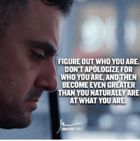 Memes, 🤖, and Who: FIGURE OUT WHO YOU ARE.  DON'T APOLOGIZE FOR  WHO YOU ARE, AND THEN  BECOME EVEN GREATER  THAN YOU NATURALLY ARE  AT WHAT YOU ARE.  DAILY VEE 217 The concept ! entrepreneurship tag a winner !