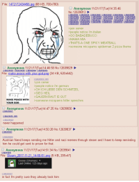 4chan, God, and Memes: File: 1472172434456 ipg (68 KB, 700x700)  O Anonymous 11/21/17(Tue)14:35:46  No. 12639813  $1263982  $1263983  5-9842 >>1  9845 >>1  18  >>12ら39851  >>12639853  join server  >people notice i'm italian  >00 BABADEBUCCI  MAMA MIA  THAT'S-A ONE SPICY MEATBALL  >someone micspams spiderman 2 pizza theme  Anonymous 11/21/17(Tue)14:46:58 No. 12639829  ng (24 KB, 520x642)  File: make peace with  join server  >people notice i'm german  >OH ICH LIEBE DEN SCHNITZEL  >SIEG HEIL  >SAUERKRAUT IS GUT  >someone micspams hitler speeches  MAKE PEACE WITH  YOUR GOD  Anonymous 11/21/17(Tue)14:47:25 No. 12639830  never happened  Anonymous 11/21/17(Tue)14.50.28 No. 1263837  12639841  Austrian friend keeps sending me Hitler and nazi memes through steam and I have to keep reminding  him he could get sent to prison for that  Anonymous 11/21/17(Tue)14:51:34 No.12639841  ng (5 KB, 205x47)  File: Steam  14  Goose (Shaman) ▼  Last Online: 125 days ago  in fact I'm pretty sure they already took him Austria catches the next Hitler