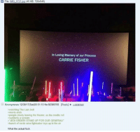 """Carrie Fisher, Jedi, and Lightsaber: File: IMG 0721 ipg (45 KB, 720x540)  In Loving Memory of our Princess  CARRIE FISHER  Anonymous 12/30/17(Sat)00:51:10 No.92385765 [Reply292387843  watching The Last Jedi  >movie ends  people slowly leaving the theater, as the credits roll  suddenly a screamm  JEDI ORDERI STAND UP FOR OUR GENERALI""""  >bunch of nerds raise lightsaber toys up in the air  What the actual fuck <p>Nerds have feelings, too. Who knew?</p>"""