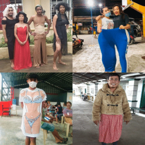 Filipinos at the Taal Volcano evacuation center staying positive by trying on some of the clothes that had been donated to them.: Filipinos at the Taal Volcano evacuation center staying positive by trying on some of the clothes that had been donated to them.