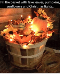 For more awesome holiday and fun pictures go to... 🎃🎃🎃🎃🎃🎃www.snowflakescottage.com: Fill the basket with fake leaves, pumpkins,  sunflowers and Christmas lights For more awesome holiday and fun pictures go to... 🎃🎃🎃🎃🎃🎃www.snowflakescottage.com