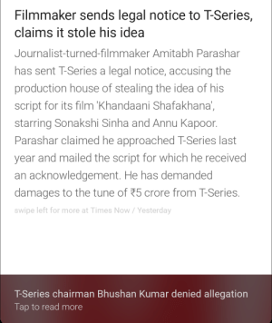 looks like someone is having a controversy?: Filmmaker sends legal notice to T-Series,  claims it stole his idea  Journalist-turned-filmmaker Amitabh Parashar  has sent T-Series a legal notice, accusing the  production house of stealing the idea of his  script for its film Khandaani Shatakhana  starring Sonakshi Sinha and Annu Kapoor  Parashar claimed he approached T-Series last  year and mailed the script for which he received  an acknowledgement. He has demanded  damages to the tune of 25 crore from T-Series  swipe left for more at Times Now/Yesterday  T-Series chairman Bhushan Kumar denied allegation  Tap to read more looks like someone is having a controversy?