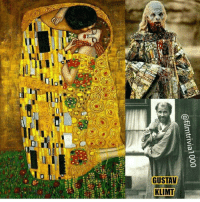"""Memes, Paintings, and Period: @filmtrivial 000  ーーー  Wuyl, 아  ーーーーーーーーー  LININ  A7514  AULsn9  no The Kiss was painted by the Austrian Symbolist painter (Gustav Klimt) between 1908 and 1909-the highpoint of his """"Golden Period"""", when he painted a number of works in a similar gilded style. A perfect square, the canvas depicts a couple embracing, their bodies entwined in elaborate robes decorated in a style influenced by both linear constructs of the contemporary Art Nouveau style and the organic forms of the earlier Arts and Crafts movement. The work is composed of oil paint with applied layers of gold leaf ● The Kiss was director Francis Ford Coppola's inspiration when it came to Gary Oldman's demonic Dracula form in 1992's Bram Stoker's Dracula. GustavKlimtTheKiss GustavKlimt Klimt TheKissKlimt KlimtGustav TheKiss AbrahamStoker GaryLeonardOldman GaryOldman BramStokersDracula BramStoker Dracula CountDracula FrancisFordCoppola Coppola FordCoppola VladTheImpaler TheImpaler Vlad EikoIshioka Nosferatu VladDracula MichaelBallhaus WojciechKilar Vampirism FilmTrivia MovieTrivia MovieProduction TheMoreYouKnow DidYouKnow"""
