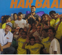 Rising Pune Supergiant skipper Steve Smith, Faf du Plessis and bowler Jaydev Unadkat with specially abled children: Fin  Finolex  PIPES  Fir Rising Pune Supergiant skipper Steve Smith, Faf du Plessis and bowler Jaydev Unadkat with specially abled children