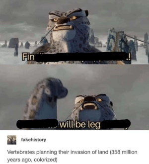 MeIRL, Invasion, and Will: Fin  will be leg  fakehistory  Vertebrates planning their invasion of land (358 million  years ago, colorized) Meirl