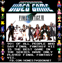 Final Fantasy: FINAHANTASIVO  90  OF ALL PEOPLE WHO  SAY FINAL FANTASY VII  IS THE BEST GAME IN  THE SERIES HAVE ONLY  PLAYED FINAL FANTASY  VII.  FB. COM HONEST VGBOXART