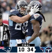 Memes, 🤖, and Titans: FINAL  10 34 FINAL: Big win for the @Titans!  #NEvsTEN #TitanUp https://t.co/7OxLzWDWHR