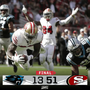 FINAL: @Teco_Raww scores 4 TDs as the @49ers dominate! #GoNiners #CARvsSF https://t.co/bGH2mGHnet: FINAL  13 51 (S FINAL: @Teco_Raww scores 4 TDs as the @49ers dominate! #GoNiners #CARvsSF https://t.co/bGH2mGHnet
