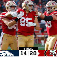 FINAL: The @49ers over the Broncos! #GoNiners  #DENvsSF https://t.co/UfaiyyZLGr: FINAL  14 20 FINAL: The @49ers over the Broncos! #GoNiners  #DENvsSF https://t.co/UfaiyyZLGr