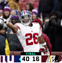 Memes, Giants, and 🤖: FINAL  1U 40 16 FINAL: The @Giants put up 40 points in Week 14! #GiantsPride  #NYGvsWAS https://t.co/eyQQqX37JO