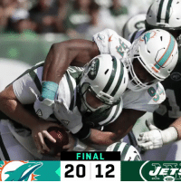 Memes, 🤖, and Win: FINAL  20 12 FINAL: @MiamiDolphins in the win column! #FinsUp #MIAvsNYJ https://t.co/jaMh00yWUx