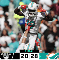 Memes, 🤖, and Final: FINAL  20 28 FINAL: @MiamiDolphins improve to 3-0! #FinsUp #OAKvsMIA https://t.co/0l3TO0xiiR