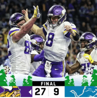 FINAL: The @Vikings get a crucial win in Detroit! #SKOL  #MINvsDET https://t.co/qSnslusPAg: FINAL  27 9 FINAL: The @Vikings get a crucial win in Detroit! #SKOL  #MINvsDET https://t.co/qSnslusPAg
