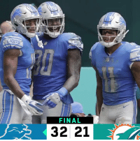 Memes, Lions, and 🤖: FINAL  32 21 FINAL: @Lions win in Miami! #DETvsMIA  #OnePride https://t.co/F9hhZnvAXm