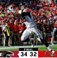 Memes, Atlantafalcons, and 🤖: FINAL  34 32 FINAL: @AtlantaFalcons finish the season with a WIN! #InBrotherhood  #ATLvsTB https://t.co/D36m3nMrcV