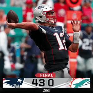 FINAL: The @Patriots shut out the Dolphins en route to a Week 2 victory! #NEvsMIA https://t.co/H2Px8LSUuA: FINAL  43 0 FINAL: The @Patriots shut out the Dolphins en route to a Week 2 victory! #NEvsMIA https://t.co/H2Px8LSUuA