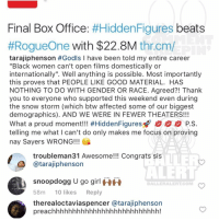 "Ballerific Comment Creepin -- 🌾👀🌾 tarajiphenson snoopdogg ti octaviaspencer: Final Box Office  #Hidden Figures  beats  #Rogue One with $22.8M  thr cm/  tarajiphenson #Godls I have been told my entire career  ""Black women can't open films domestically or  internationally"". Well anything is possible. Most importantly  this proves that PEOPLE LIKE GOOD MATERIAL. HAS  NOTHING TO DO WITH GENDER OR RACE. Agreed?! Thank  you to everyone who supported this weekend even during  the snow storm (which btw affected some of our biggest  demographics). AND WE WERE IN FEWERTHEATERS!!!  What a proud moment!!! #HiddenFigures P.S.  telling me what I can't do only makes me focus on proving  nay Sayers WRONG!!!  troubleman31 Awesome!!! Congrats sis  atarajiphenson  snoopdogg u go girl  HH  BALLER ALERT COMM  58m  10 likes  Reply  therealoctaviaspencer atarajiphenson  preachhhhhhhhhhhhhhhhhhhhhhhhhh! Ballerific Comment Creepin -- 🌾👀🌾 tarajiphenson snoopdogg ti octaviaspencer"
