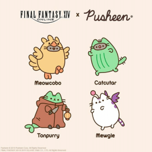 Tag yourself and get ready for #FFXIV Shadowbringers! Congrats to FINAL FANTASY XIV for launching their new expansion - out now! 🎮 #FinalFantasheenXIV bit.ly/PusheenComics: FINAL FANTASY XIV  X  ONLINE  Catcutar  Meowcobo  Tonpurry  Mewgle  Pusheen O 2019 Pusheen Corp. All Rights Reserved  FINAL FANTASY XIV 0 2019 SQUARE ENIX CO, LTD Al Rights Reserved Tag yourself and get ready for #FFXIV Shadowbringers! Congrats to FINAL FANTASY XIV for launching their new expansion - out now! 🎮 #FinalFantasheenXIV bit.ly/PusheenComics