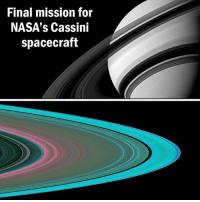 Memes, Nasa, and Death: Final mission for  NASA's Cassini  spacecraft After almost 20 years in space, NASA's Cassini spacecraft is set to begin its final orbits around Saturn. Since launching in 1997 (reaching Saturn by 2004), Cassini has beamed back vast amounts of images of Saturn, its rings and its moons, helping more than 3,000 scientific studies. Between April and September, Cassini will do a final flyby of Saturn's moon Titan, along with collecting data on Saturn's gravity and magnetic fields, which will help us understand what the planet is like closer to its core. NASA's also hoping to get data on the material in Saturn's rings, which will help us understand their origins. We can expect to get some amazing close-up images of Saturn's rings and clouds before it plunges into the atmosphere, ultimately burning to its death around Sept. 15 😢️ [Images via NASA]