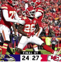 Memes, Chiefs, and 🤖: FINAL OT  24 27 FINAL: The @Chiefs win in OT! #ChiefsKingdom  #BALvsKC https://t.co/GqyiaabihM