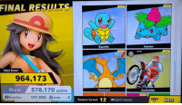 Pokemon, Game, and Yes: FINAL RESULT  NEW  NEW  Squirtle  Ivysaur  NEW  NEW  Total Score  964,173  578,170 points  107,060 Credi0  Mural  Charizard  Excitebike  NEW  Bonus Game  Rewards Earned: 12 Spirt Details  Next Ah yes, the four classic starting Pokémon https://t.co/dQ8hNfdTWQ