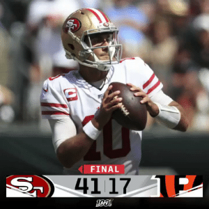 FINAL: @JimmyG_10 throws for 3 TDs as the @49ers earn a dominating win in Week 2! #SFvsCIN https://t.co/2IU8Rx0v0R: FINAL  S  41 17 E FINAL: @JimmyG_10 throws for 3 TDs as the @49ers earn a dominating win in Week 2! #SFvsCIN https://t.co/2IU8Rx0v0R
