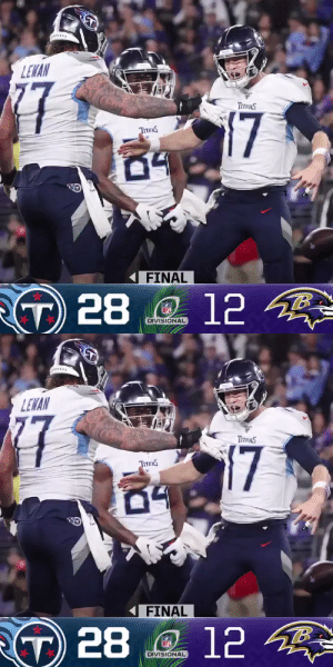 FINAL: The @Titans defeat the Ravens in the Divisional Round! #NFLPlayoffs #Titans #TENvsBAL  (by @Lexus) https://t.co/s4HkL5CJvF: FINAL: The @Titans defeat the Ravens in the Divisional Round! #NFLPlayoffs #Titans #TENvsBAL  (by @Lexus) https://t.co/s4HkL5CJvF