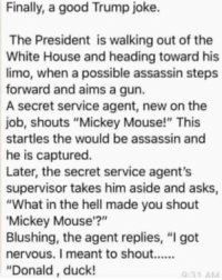 "Being from Britain, I tend to avoid posting about American politics, but I think everybody can appreciate this one 😂: Finally, a good Trump joke.  The President is walking out of the  White House and heading toward his  limo, when a possible assassin steps  forward and aims a gun.  A secret service agent, new on the  job, shouts ""Mickey Mouse!"" This  startles the would be assassin and  he is captured.  Later, the secret service agent's  supervisor takes him aside and asks  ""What in the hell made you shout  Mickey Mouse'?""  Blushing, the agent replies, ""I got  ""Donald, duck! Being from Britain, I tend to avoid posting about American politics, but I think everybody can appreciate this one 😂"