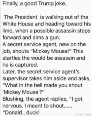 """White House, Duck, and Good: Finally, a good Trump joke.  The President is walking out of the  White House and heading toward his  limo, when a possible assassin steps  forward and aims a gun.  A secret service agent, new on the  job, shouts """"Mickey Mouse!"""" This  startles the would be assassin and  he is captured.  Later, the secret service agent's  supervisor takes him aside and asks  """"What in the hell made you shout  Mickey Mouse'?""""  Blushing, the agent replies, """"I got  """"Donald, duck!  9:31 AM"""