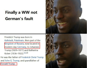 Finally a WW not German's fault but wait: Finally a WW not  German's fault  Friedrich Trump was born in  Kallstadt, Palatinate, then part of the  Kingdom of Bavaria, now located in  modern-day Germany, to Johannes  Trump (1829-1877) and Katharina  Kober (1836–1922).31:28  He was the father of Frederick Christ Trump  and John G. Trump, and grandfather of  Donald Trump. Finally a WW not German's fault but wait