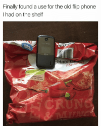 😂😂😂 | More 👉 @miinute: Finally found a use for the old flip phone  I had on the shelf  o.  On  otato rared  Flavo  trition Facts  otal Fat Content 😂😂😂 | More 👉 @miinute