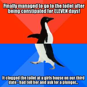 Date, House, and Her: Finally managed to go to the toilet after  being constipated for ELEVEN days!  Itclogged the toiletatagirls house on our third  date-had tell her and askforaplunger..