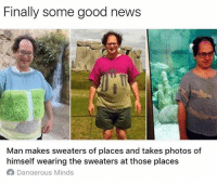 @moistbuddha is hands down the funniest page on IG. A must follow!: Finally some good news  Man makes sweaters of places and takes photos of  himself wearing the sweaters at those places  A Danaerous Minds @moistbuddha is hands down the funniest page on IG. A must follow!
