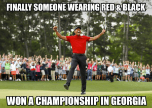 Red Black: FINALLY SOMEONEWEARING RED &BLACK  WONACHAMPIONSHIPIN GEORGIA