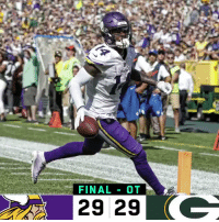 Memes, Packers, and Vikings: FINALOT  29 29 (C FINAL: @packers + @Vikings tie at Lambeau. #MINvsGB https://t.co/i0CP1UB4vn