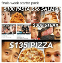 get off ur phone nd go study: finals week starter pack  $100 PASTA $56 SALMO  169 HOT DOG  000  THIT  WORTH IT  1040  lot Dog vs. $169 Hot Dog  $100 sneakers vs. $25,000  Sneakers  FeedVideo a  01 views 2 hours ago  BuzzFeed Blue 2  85,104 views 2 hours ago  $135 PIZZA get off ur phone nd go study