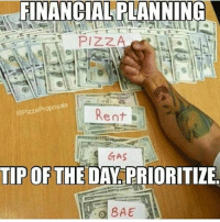 Rent, Tips, and Pizza Pizza: FINANCIAL PLANNING  PIZZA  @Pizza Proposals  Rent  B  4 GAS  TIP OF THE DA  PRIORITIZE  BAE Priorities.