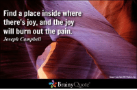 Memes, Happy, and Image: Find a place inside where  there's joy, and the joy  will burn out the pain.  Joseph Campbell  Brainy  Quote  Image Copyright 2012 xplore, Find a place inside where there's joy, and the joy will burn out the pain. - Joseph Campbell https://www.brainyquote.com/quotes/authors/j/joseph_campbell.html #brainyquote #QOTD #joy #happiness #cave