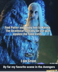 9gag, Memes, and Avengers: Find Potter and uring him to Narnia.  The Deathstar is ready for our War  against the Time Lords  I am Groot.  VIA 9GAG.COM  By far my favorite scene in the Avengers  ifunny.ce